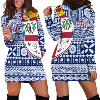 Fiji Tapa Pattern Hoodie Dress