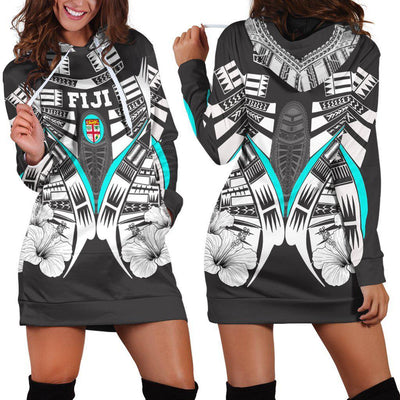 Fiji Covers Fiji Flag Hibiscus Polynesian Tattoo Hoodie Dress