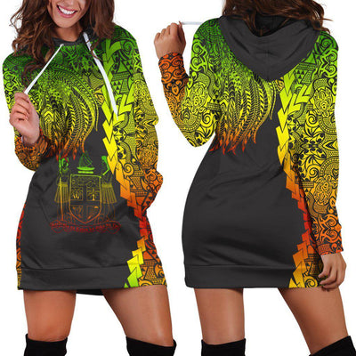Fiji Polynesian Custom Personalised Tribal Wave Tattoo Reggae Hoodie Dress