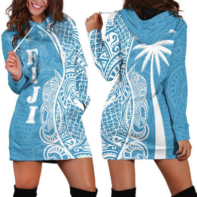 Fiji Polynesian Coconut palm with pattern curvey Hoodie Dress - luxamz