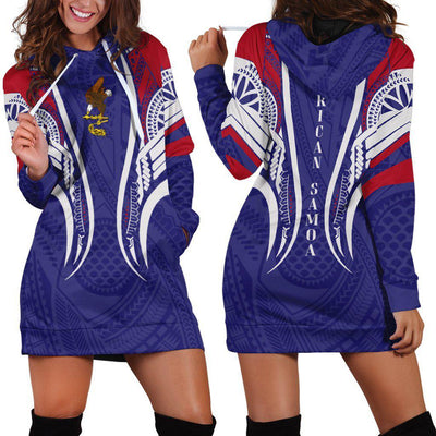 American Samoa Seal Polynesian Stylized Hoodie Dress