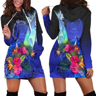 American Samoa Humpback Whale with Tropical Flowers Hoodie Dress