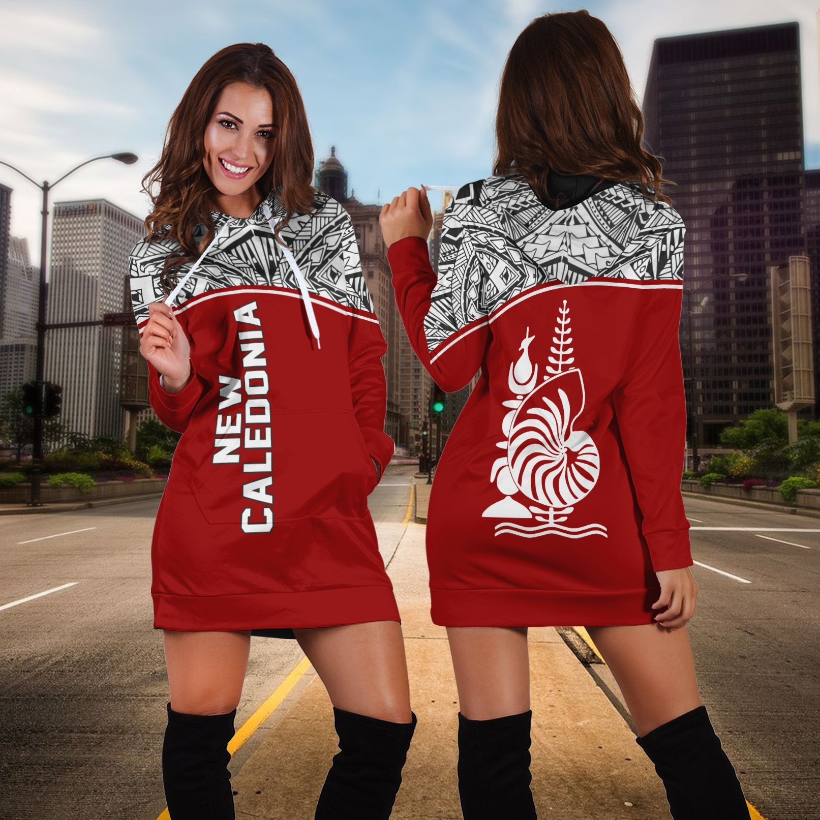 New Caledonia Polynesian Red Curve Version Hoodie Dress - luxamz