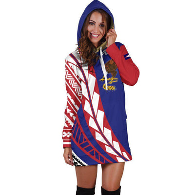 American Samoa Flag Edition Pullover Hoodie Dress