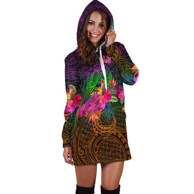 American Samoa Summer Hibiscus Flag Hoodie Dress - luxamz