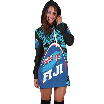 Fij Polynesian Pattern With Flag Hoodie Dress
