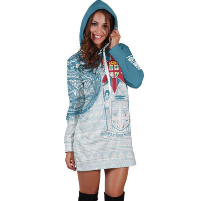 Fiji Polynesian Flag with Coat of Arms Hoodie Dress