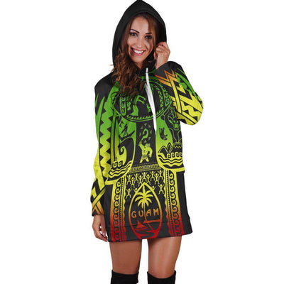 Guam Flag Seal with Maui Moana Tattoo Hoodie Dress - luxamz