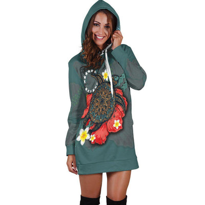 Cook Islands Blue Turtle Tribal Hoodie Dress