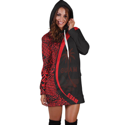 Guam Micronesia Red Round Style Hoodie Dress