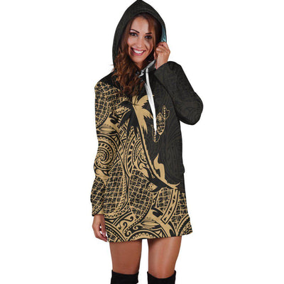 Guam Coconut palm Gold tropical polynesians Hoodie Dress - luxamz