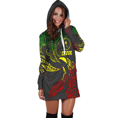Chuuk Micronesia Reggae Tribal Wave Hoodie Dress