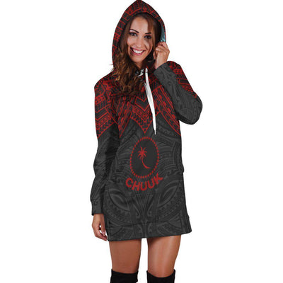 Chuuk Micronesian Red Armor Style Hoodie Dress - luxamz