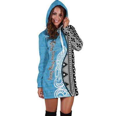 Fiji Polynesian Tapa Pattern Coconut Tree Hoodie Dress