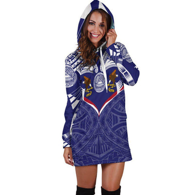 American Samoa Powerful Flag Seal Polynesian Hoodie Dress
