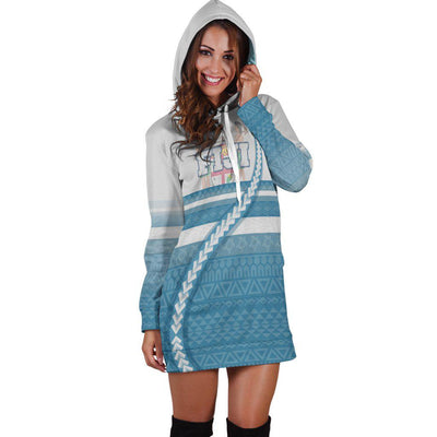 Fiji Coat Of Arms Tribal Line White Blue Hoodie Dress