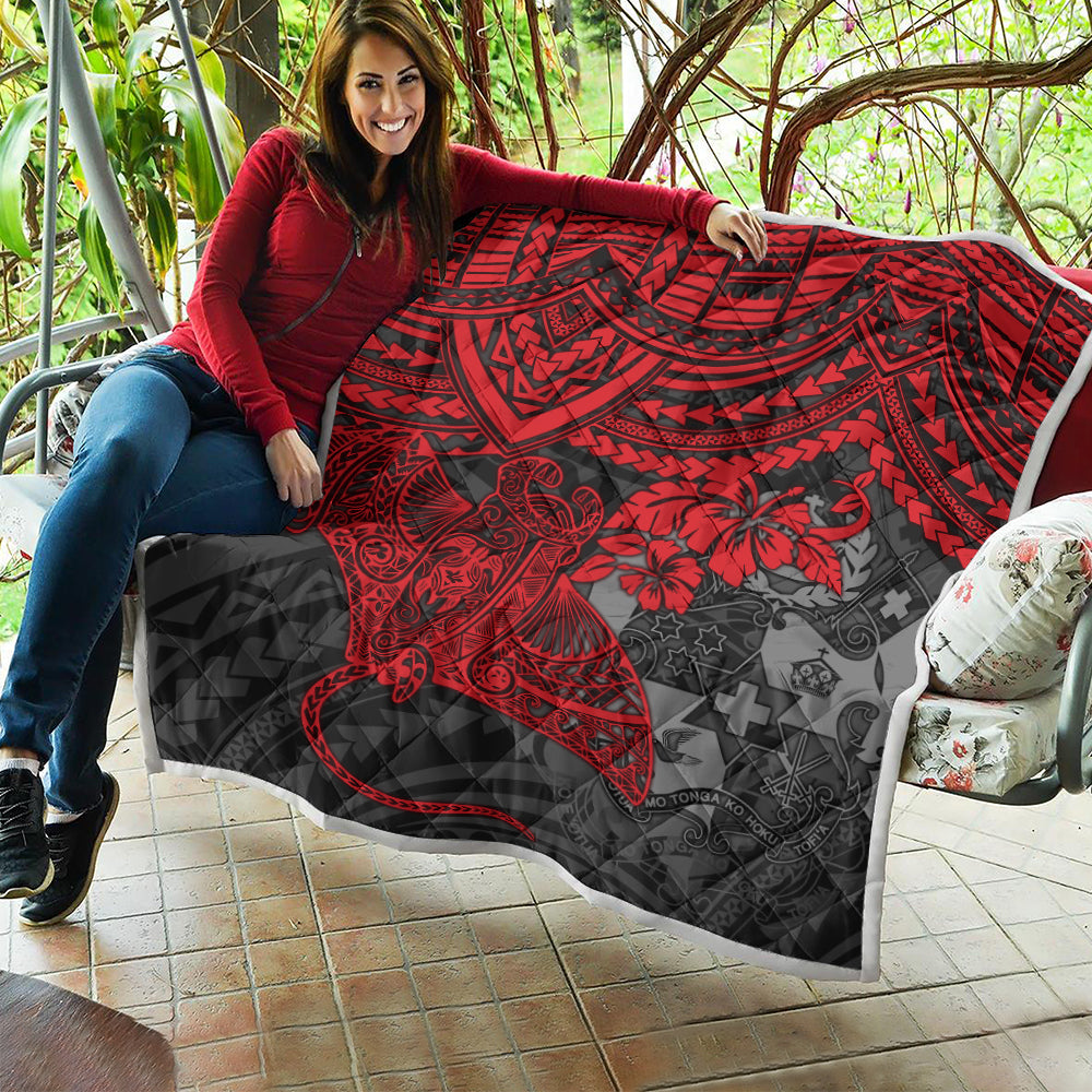 Tonga Polynesian Red Manta Ray Quilt All Over Printed