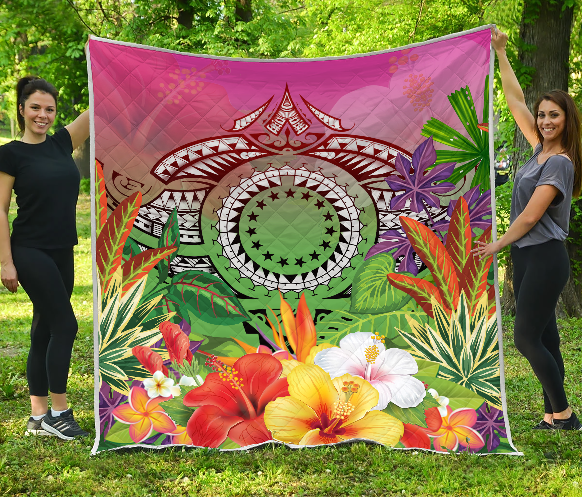 Cook Islands Polynesian Manta Ray Tropical Flowers Quilt - luxamz
