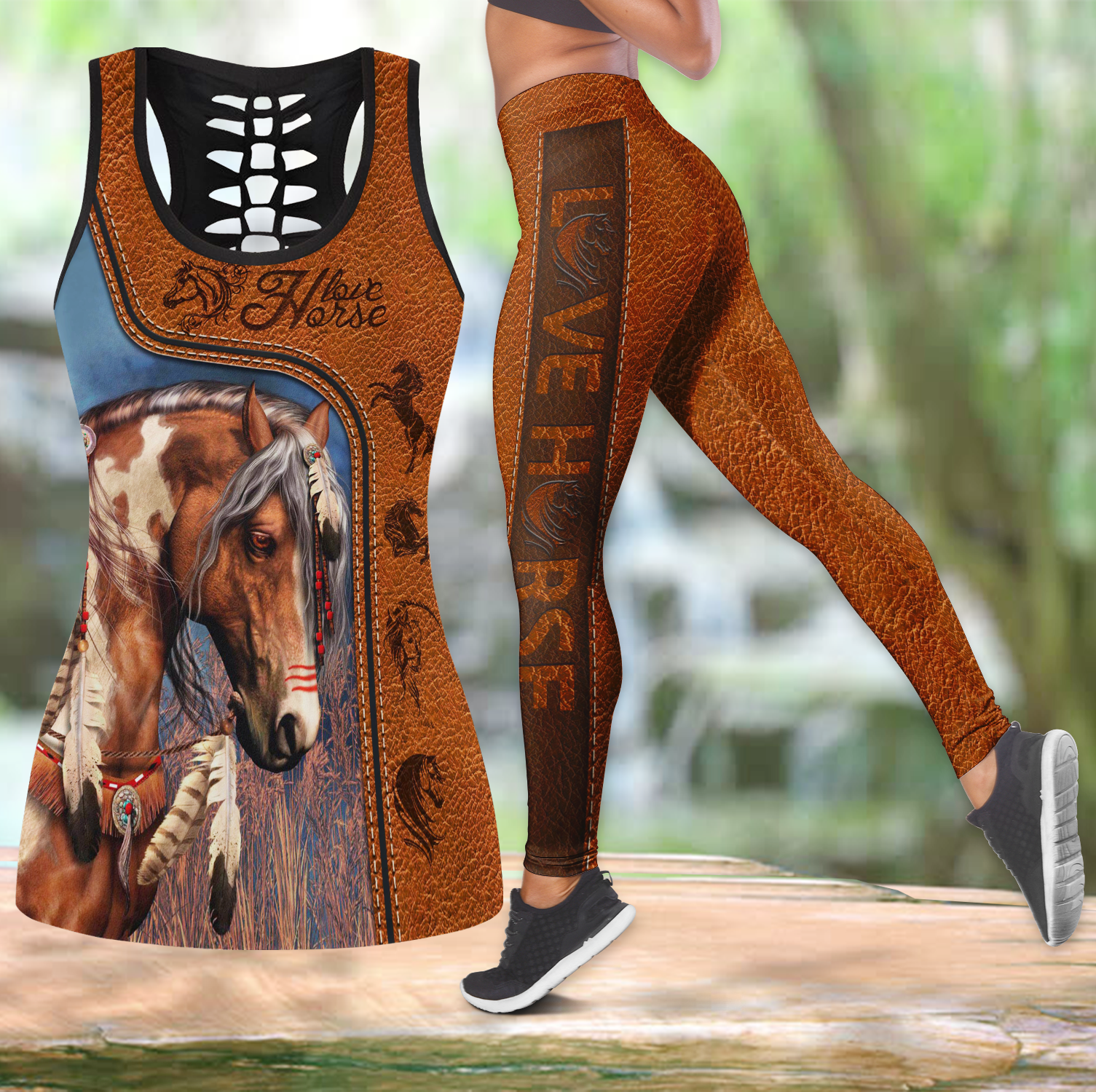 Love Horse Combo Tank Legging All Over Print