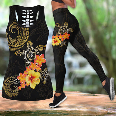 Polynesian Tattoo Turtle Hibiscus Frangipani Legging Tank top All Over Print
