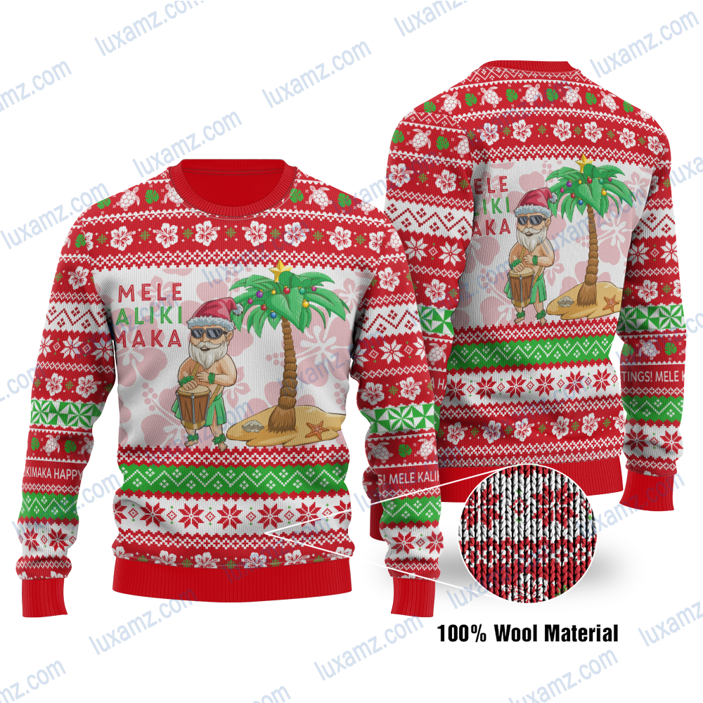 Polynesian Hawaii Santa Claus Summer Christmas Ugly Christmas Wool sweater