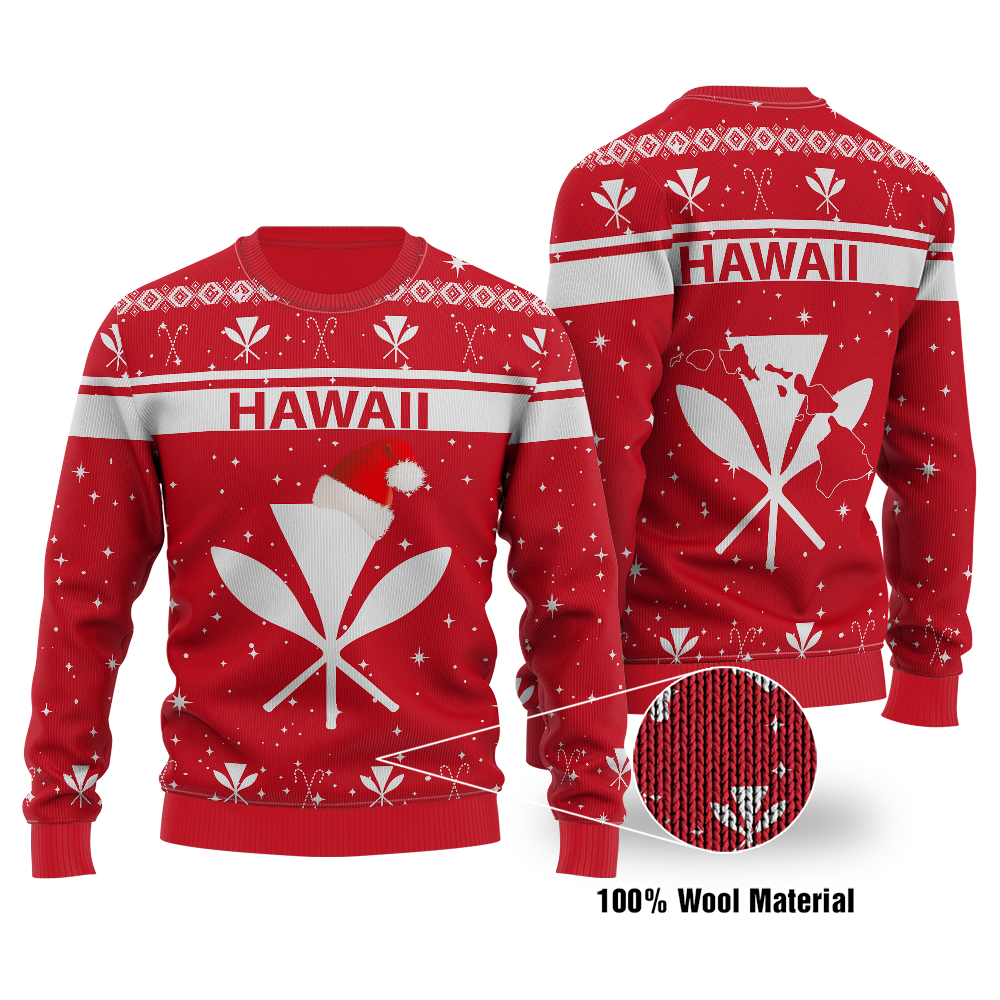 Polynesian Hawaii Turtle Pattern Red Ugly Christmas Wool sweater - luxamz