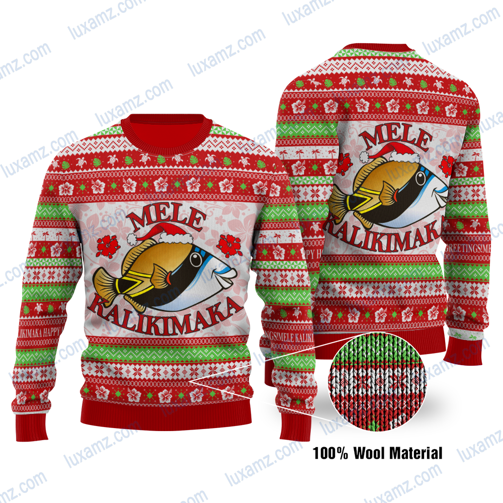 Polynesian Hawaii Mele Kalikimaka Ugly Christmas Wool sweater