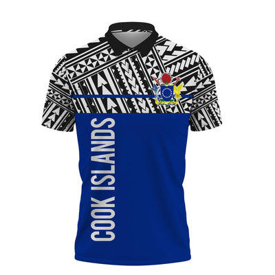 Cook Islands Coat Of Arms Polynesian Horizontal Style Polo Shirt All Over Print
