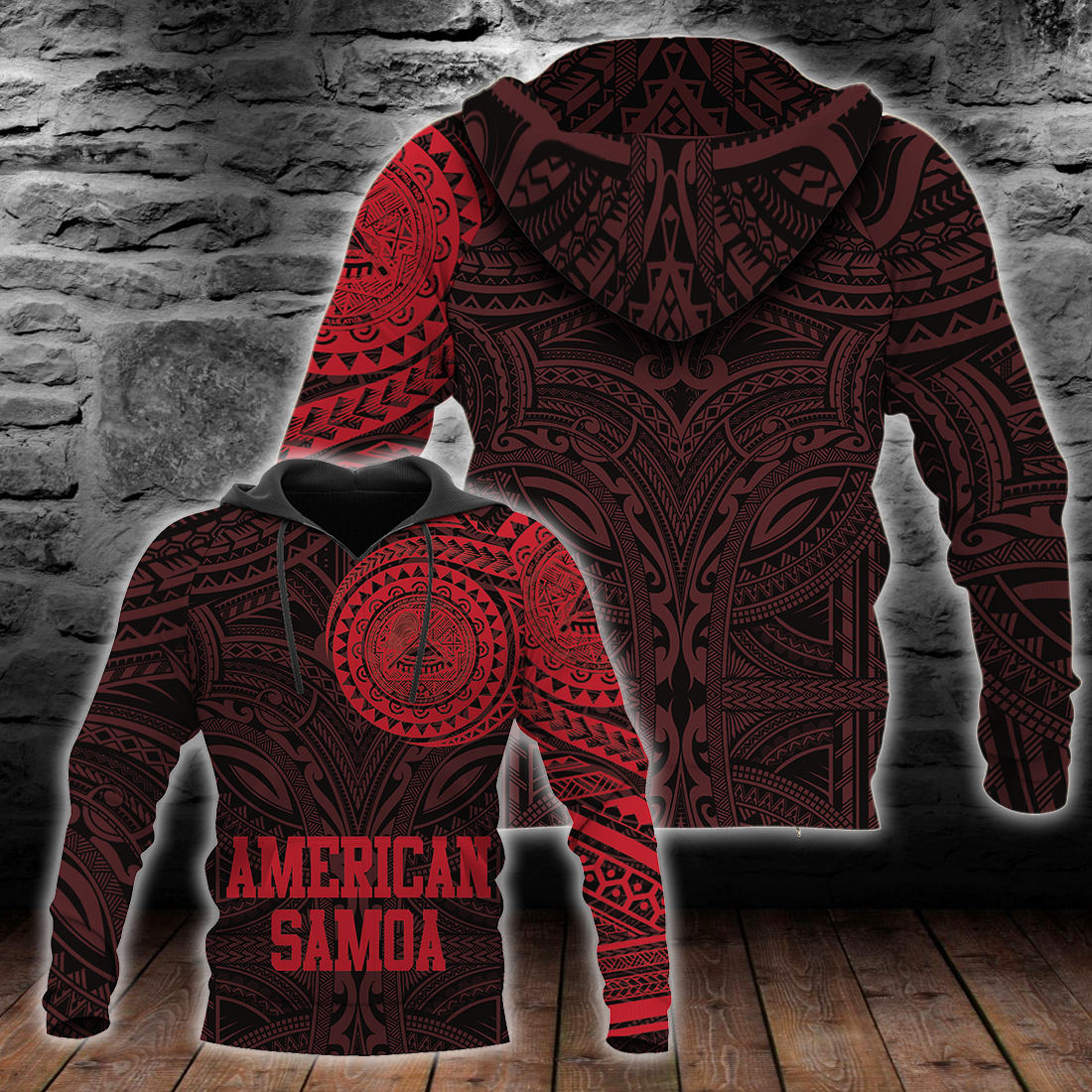 American Samoa Polynesian Logo Tattoo Style Red all over print