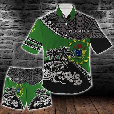 Cook Islands Polo Fall In The Wave combo beach Shirt and Short all over print