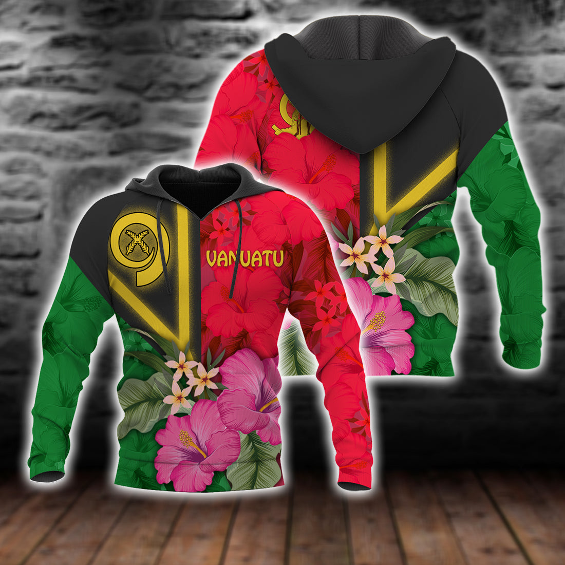 Vanuatu Flag with Hibiscus lover All Over Print - luxamz
