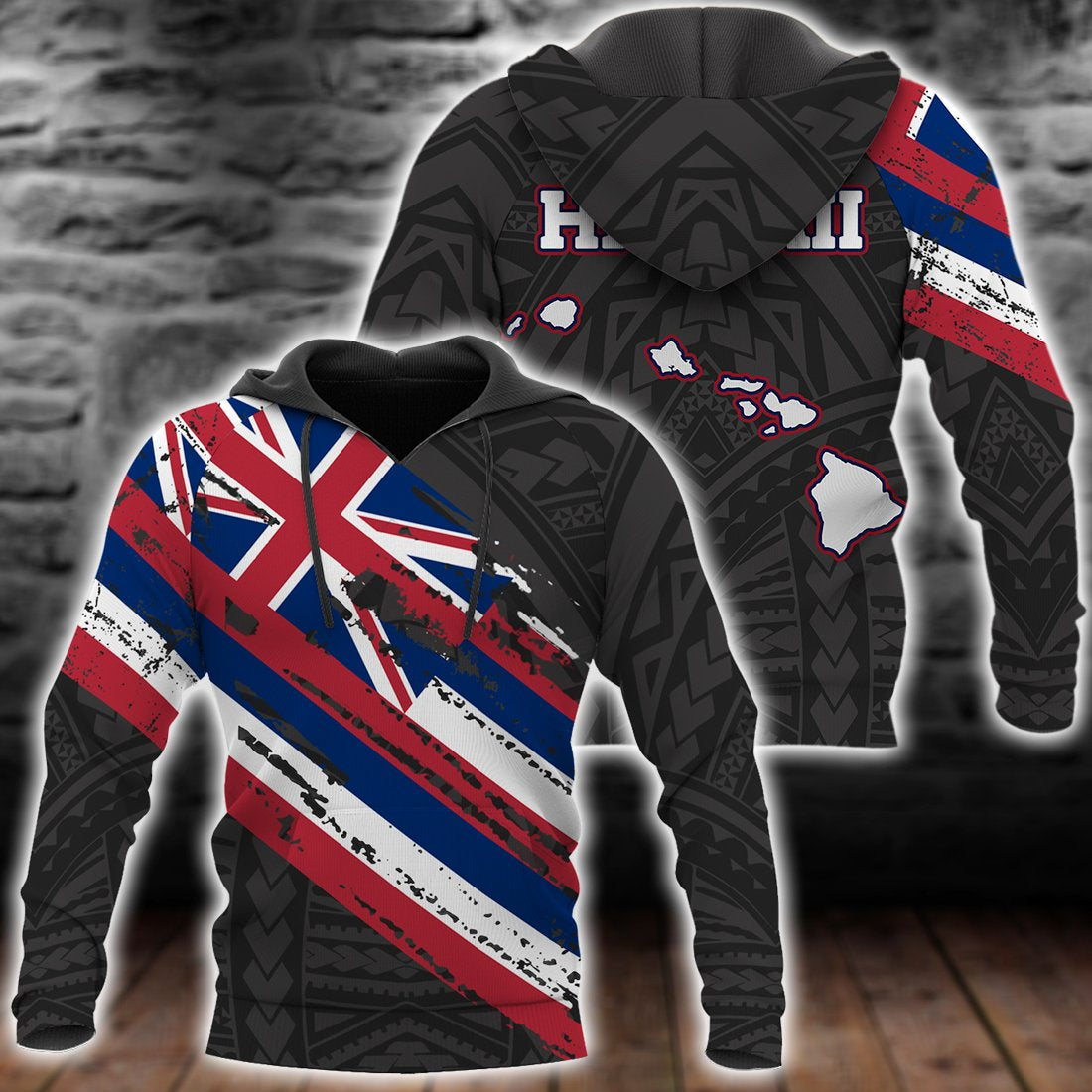 Hawaii Flag Polynesian Black Pattern all over print - luxamz