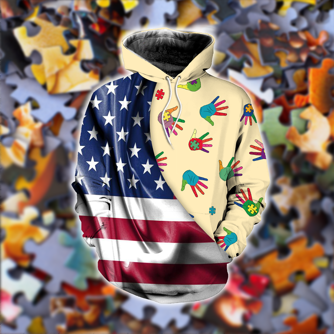 Autism Awareness Flag Silk Style all over print - luxamz