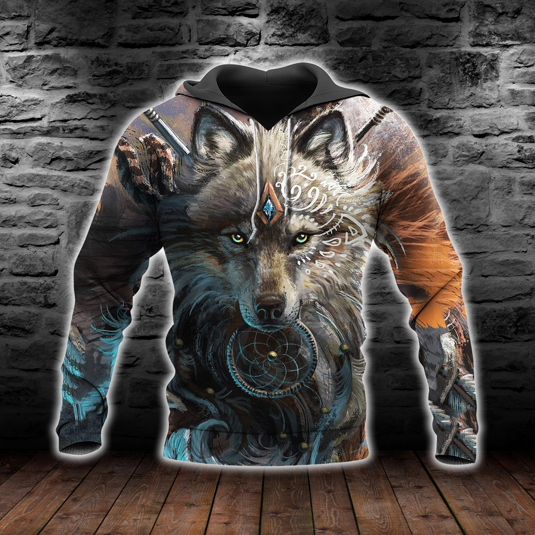 Native American Wolf Hoodie T Shirt For Men and Women All Over Print