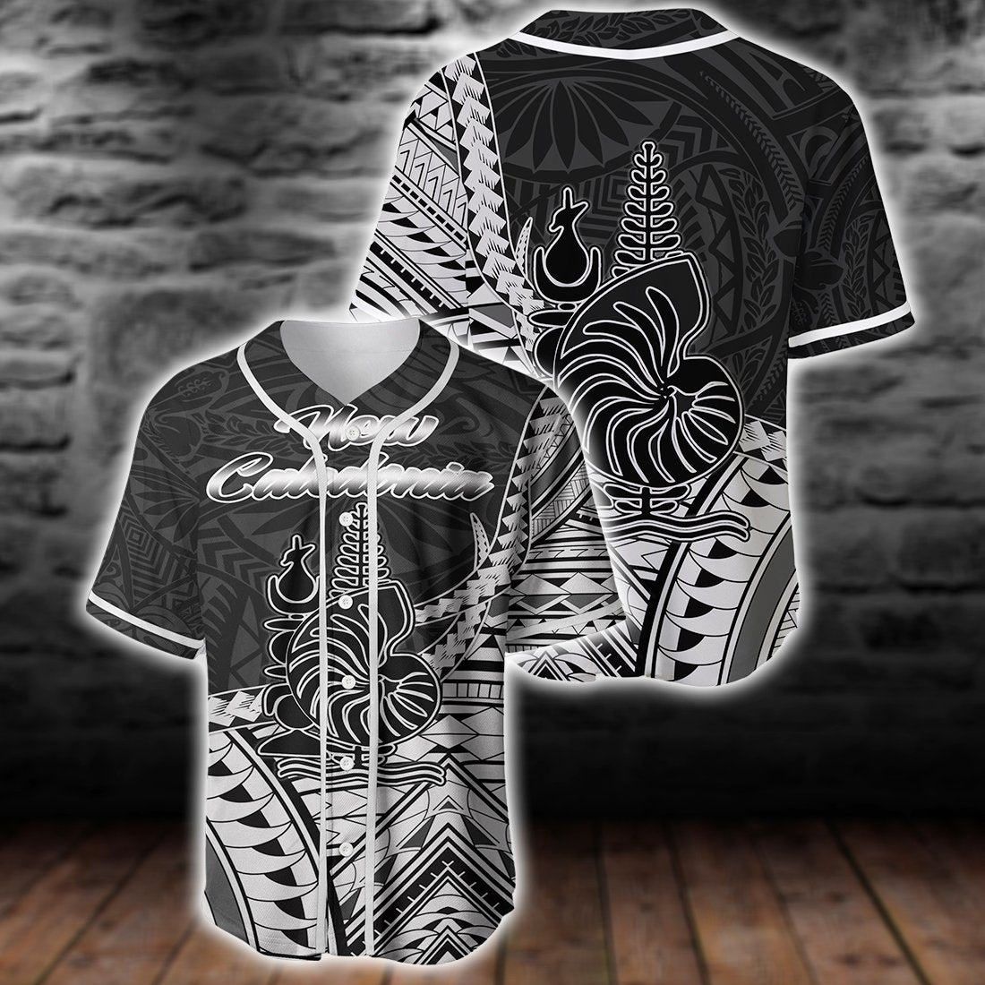 New Caladonia Seal Of New Caledonia Islands Polynesian Patterns Baseball Jersey Shirt - luxamz