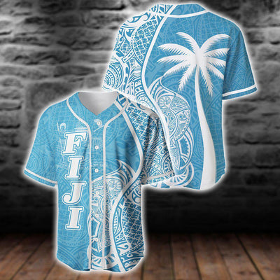 Fiji Polynesian Coconut palm with pattern curvey Baseball Jersey Shirt - luxamz