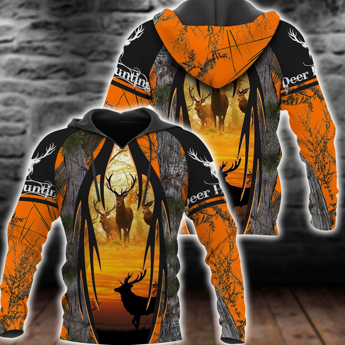 ORANGE DEER HUNT ALL OVER PRINT SHIRTS FOR MEN AND WOMEN