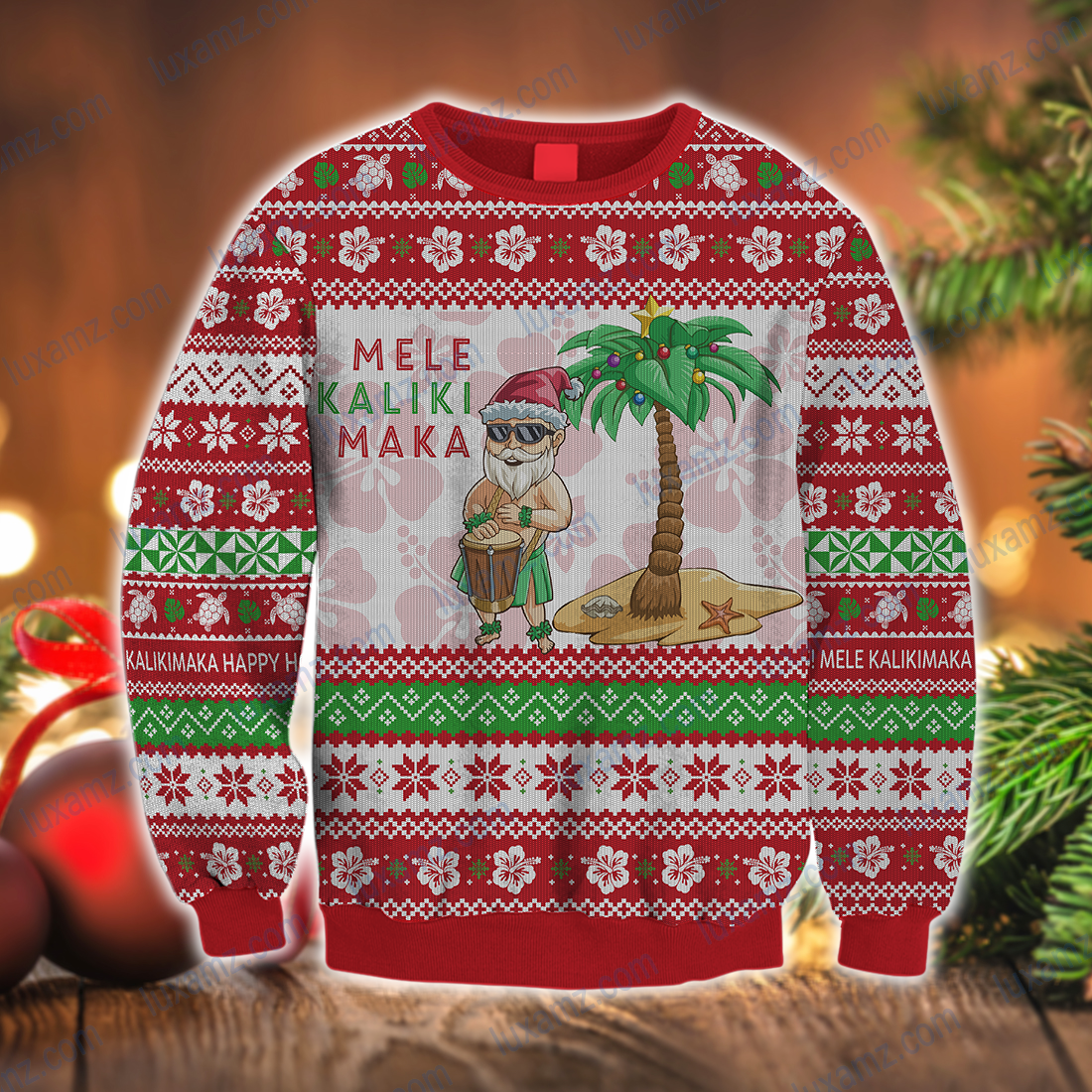 Polynesian Hawaii Santa Claus Summer Christmas All Over Print