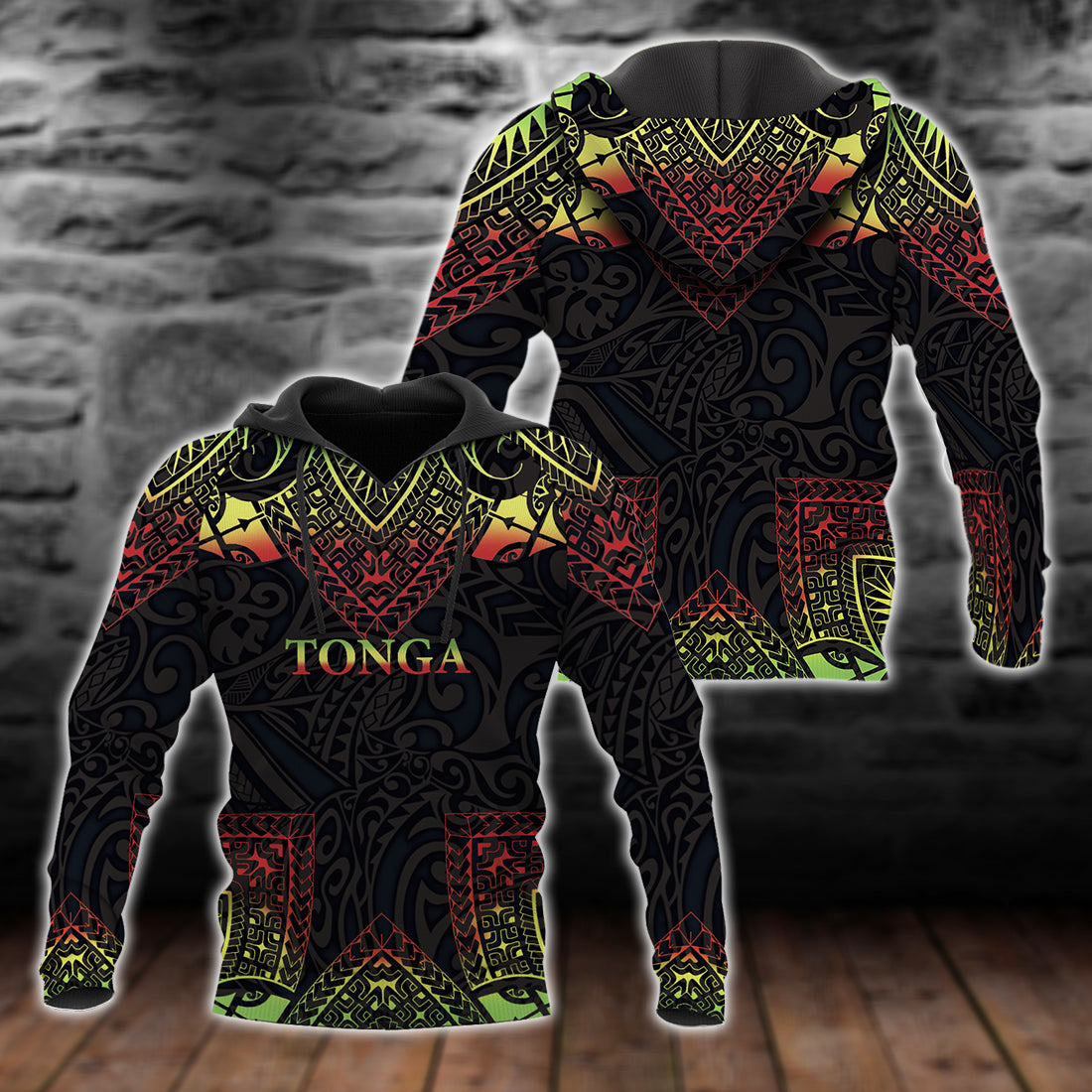 Tonga Hoodie Coat Of Arms With Patterns Reggae Color All Over Print