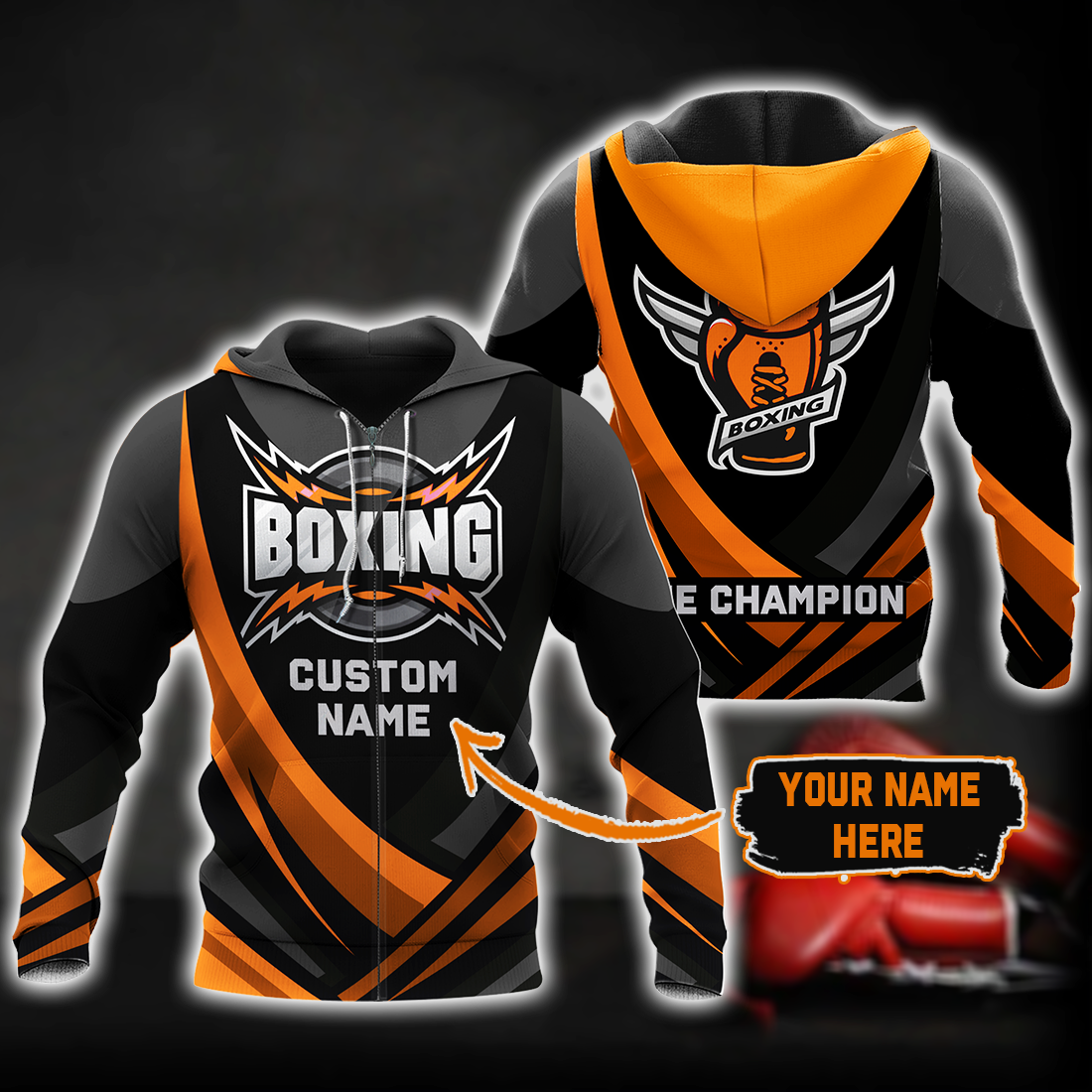 Boxing King Champion 3D Orange Customize Name All Over Print