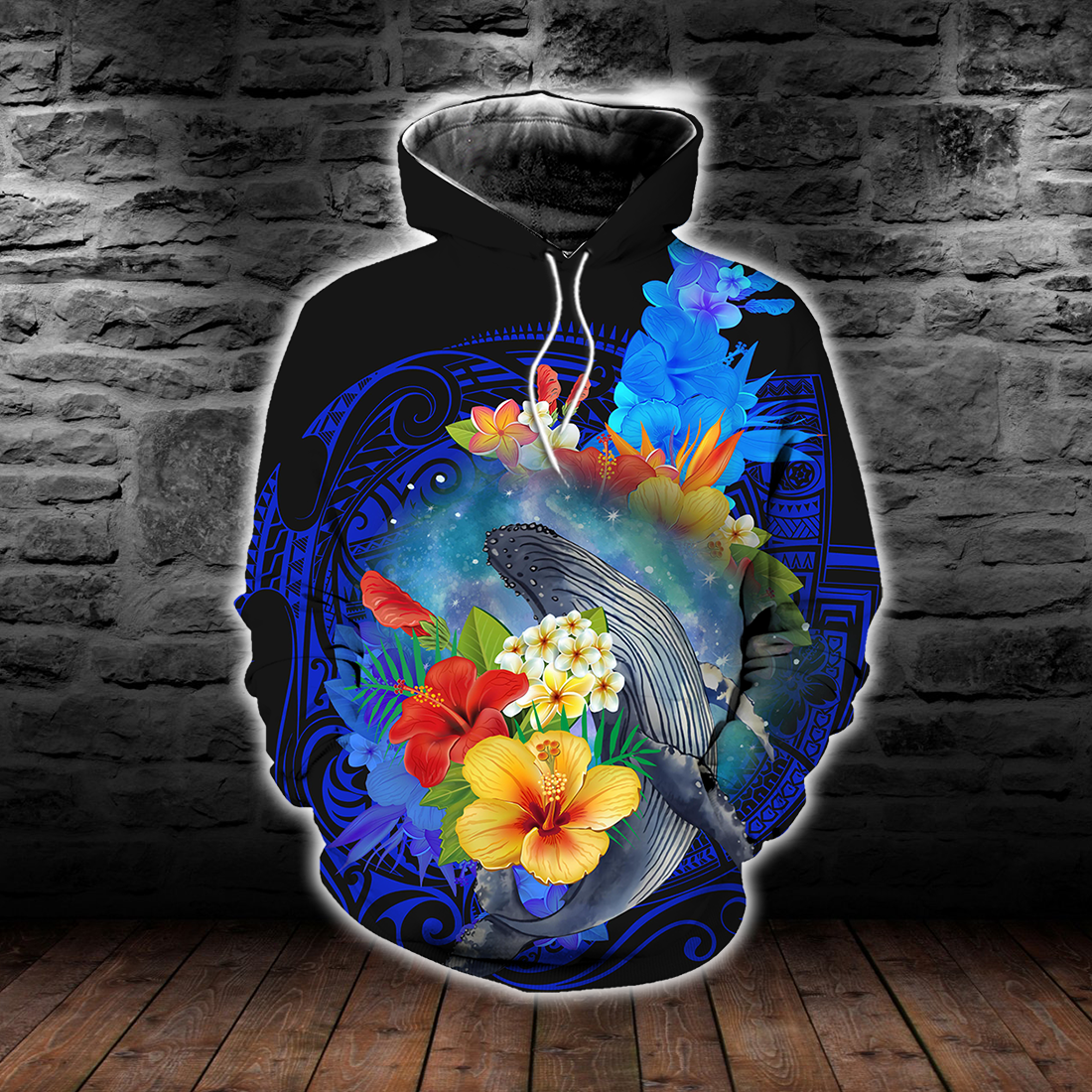 Amazing Kanaka Maoli Humpback Whale with Tropical Flowers All Over Print - luxamz