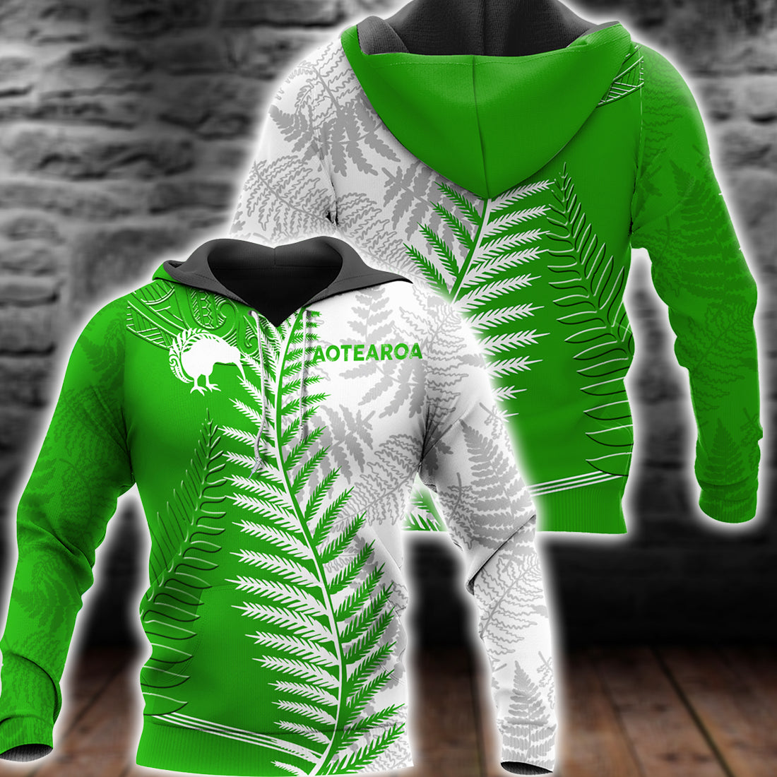 New zealand with  silver fern kiwi all over print