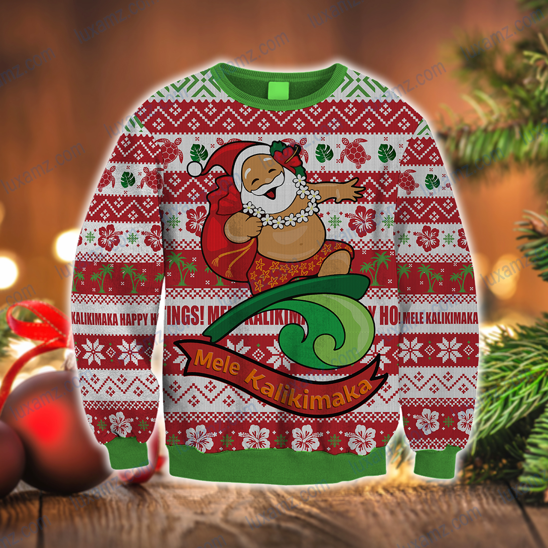 Hawaiian Christmas Santa Surfing Ugly Christmas