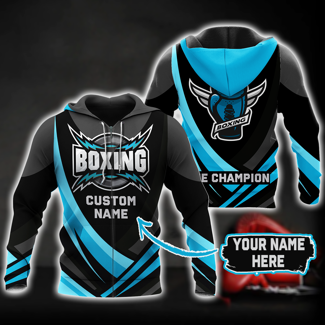 Boxing King Champion 3D Blue Customize Name All Over Print