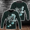 Hibiscus Plumeria Mix Polynesian Turquoise Turtle all over print - luxamz
