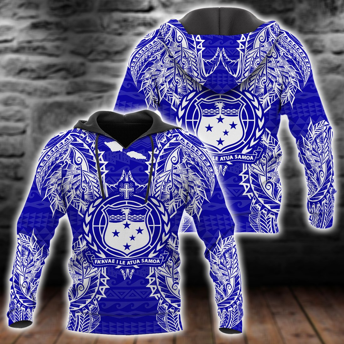 Polynesian Samoa Blue all over print