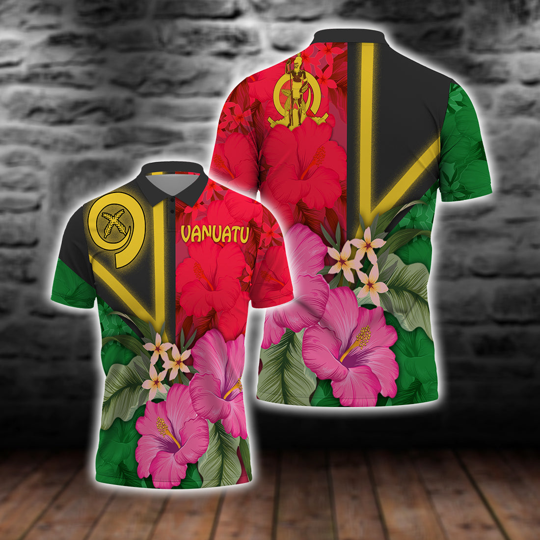Vanuatu flag with hibiscus lover Polo Shirt All Over Print