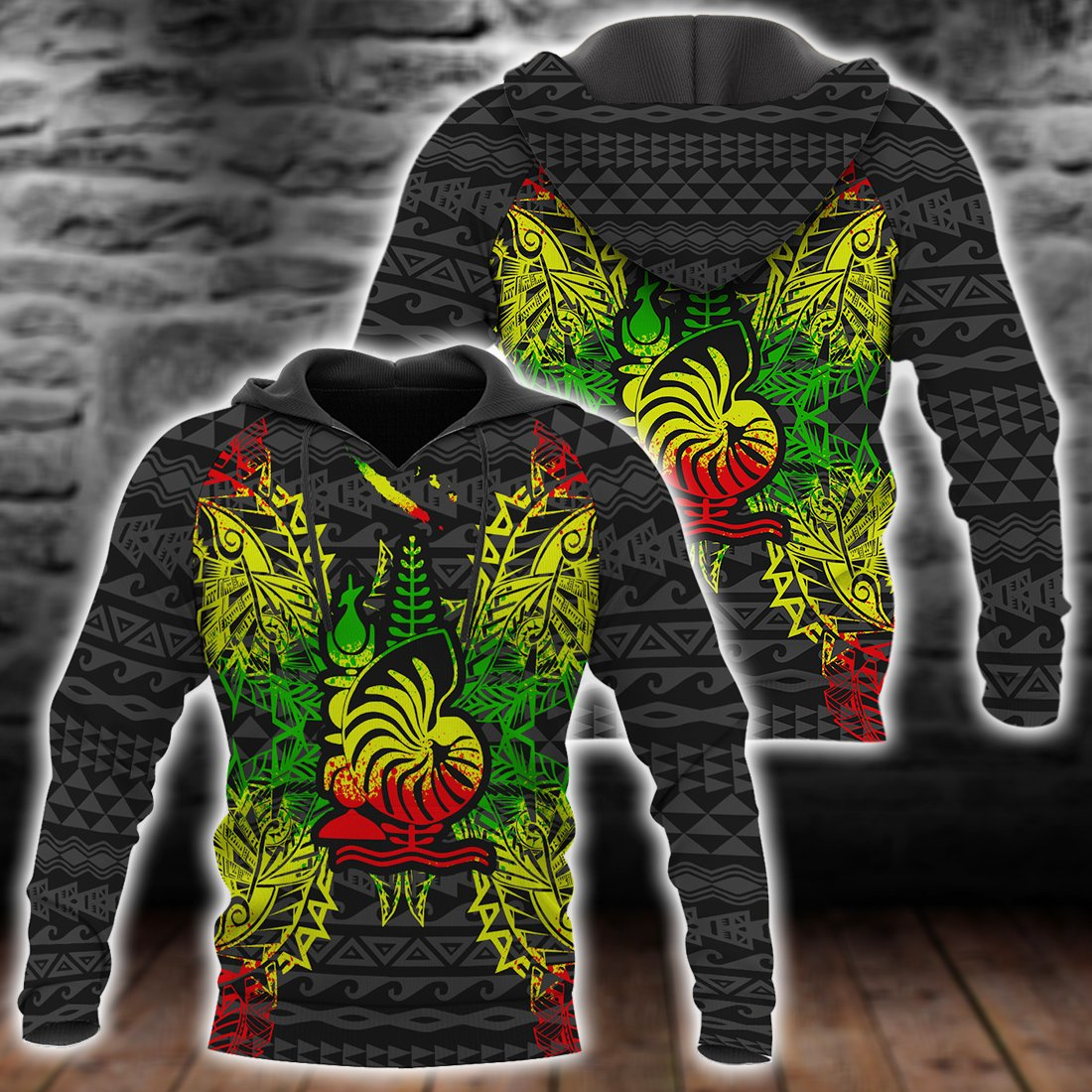 New Caledonia Polynesian Men_s Bomber Jacket Map Reggae All Over Print - luxamz