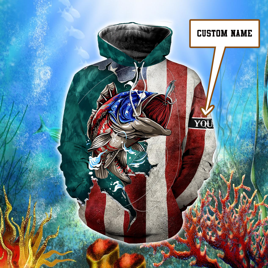 Beautiful Fishing American Flag Customize Name All Over Print - luxamz
