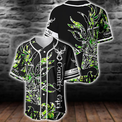 GREEN COUNTRY GIRL ON BLACK BASEBALL JERSEY SHIRT
